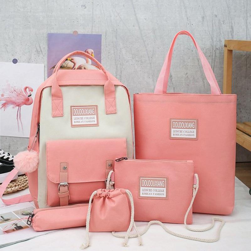 2020 New Canvas Female Book Bag Backpack 5pcs/set Schoolbag School Bag Travel Pack Fashion Tassel Women Teenage Teenagers Girl 2