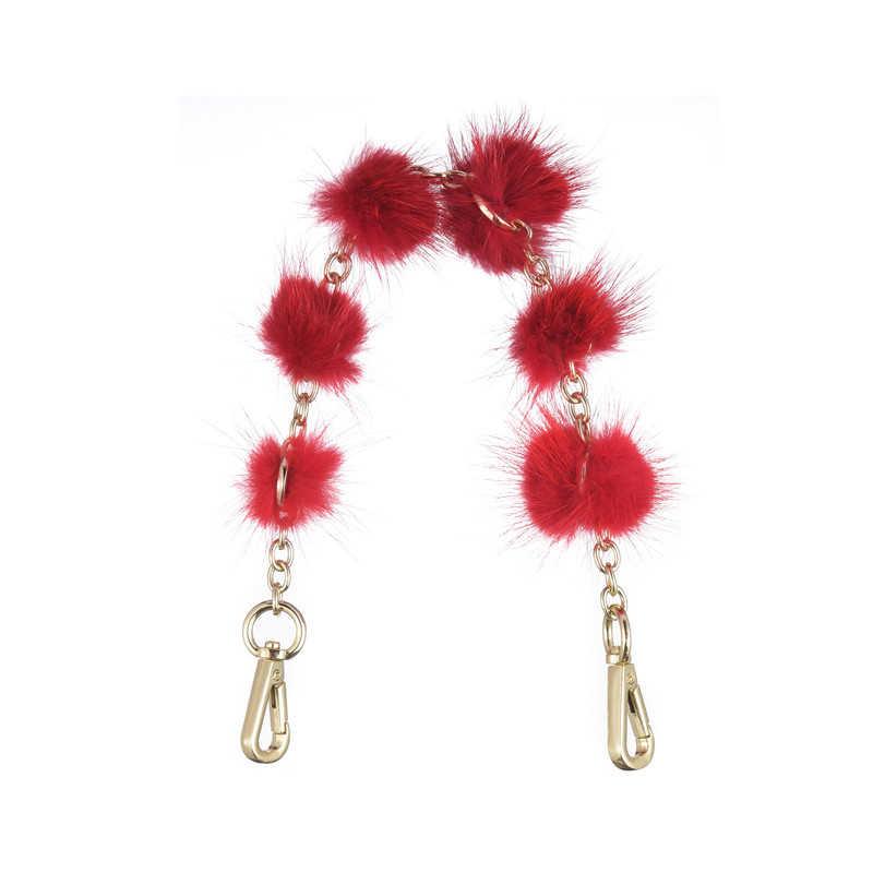 2019 nuevo bolso de hombro para el pelo de visón accesorio de cadena con cierre de Clip de correa de cuero de imitación para bolso de Obag O 6 Color