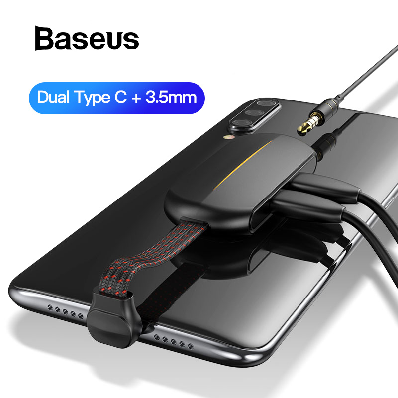 Baseus OTG Adapter For IPhone 11 Pro Xr 8 7 Plus 18W Fast Charging USB Type C Aux Cable 3in1 Dual Port For HUAWEI Mate30 Samsung