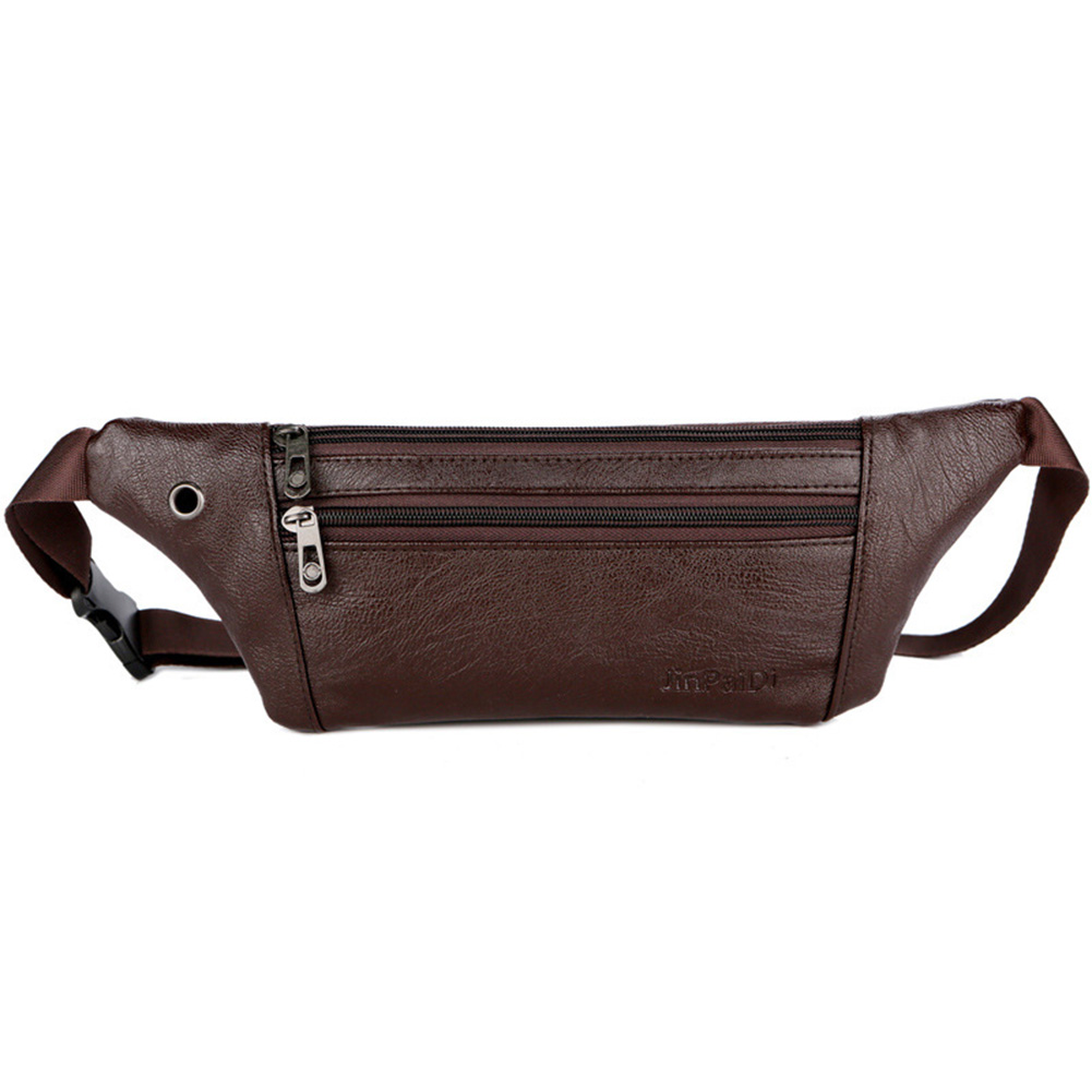 Men PU Leather Waist Bag Running Waist Bags Multifunction Man Packs Ultrathin Leather Solid Color Male Outdoor Sport Waist