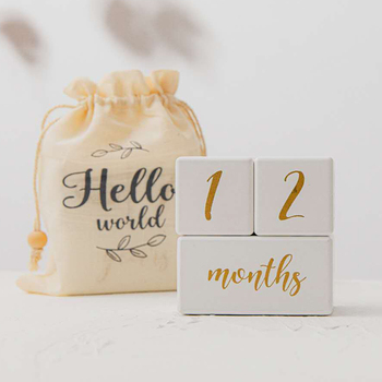 1set Baby Milestone Cards Wooden Block White Birth Month Number Commemorative Souvenir Newborn Photo Accessories