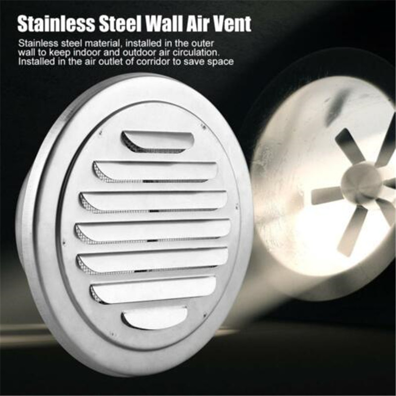 Hot 201 Stainless Steel Wall Air Vent Grille Exterior Round Ducting Ventilation Grilles Ventilation Duct Hood Durable Vent Cap
