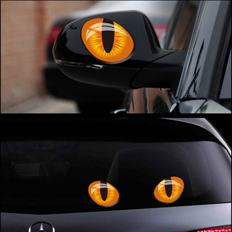 2PCS Car Sticker Accessories Cute Simulation Cat Eyes 3D Car Stickers For Rearview Mirror Car Head Cover Windows Decoration