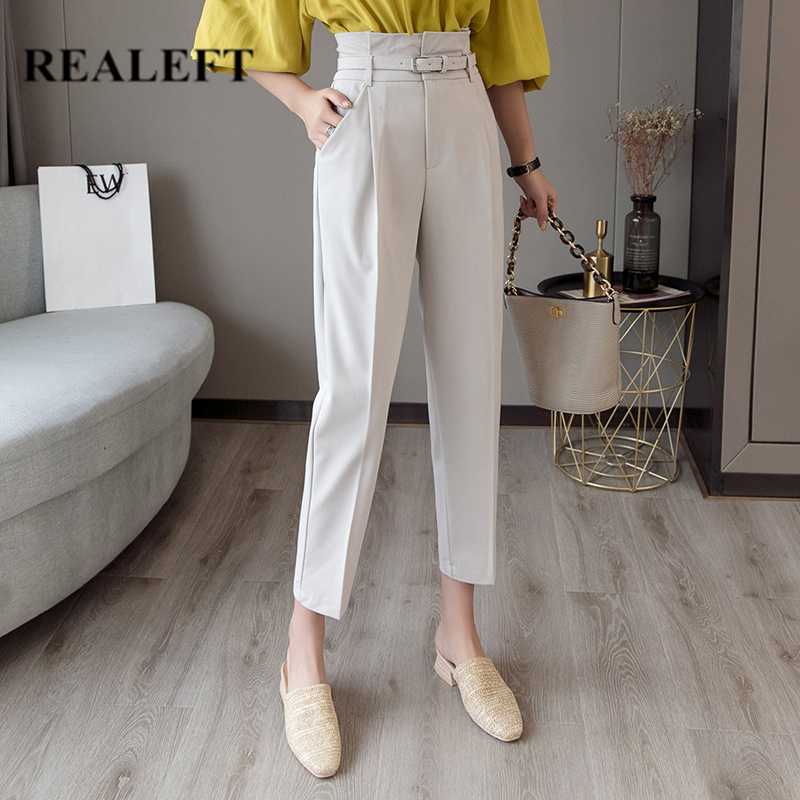 REALEFT OL Style White Women Pants Casual Pencil Pants With Belt High Waist Elegant Work Trousers Female Casual 2019 New Arrival