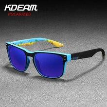 Metal hinge KDEAM Mirrored Polarized Sunglasses Men Square Sport Sun Glasses matte soft cover Frame Women UV400 Gafas De Sol
