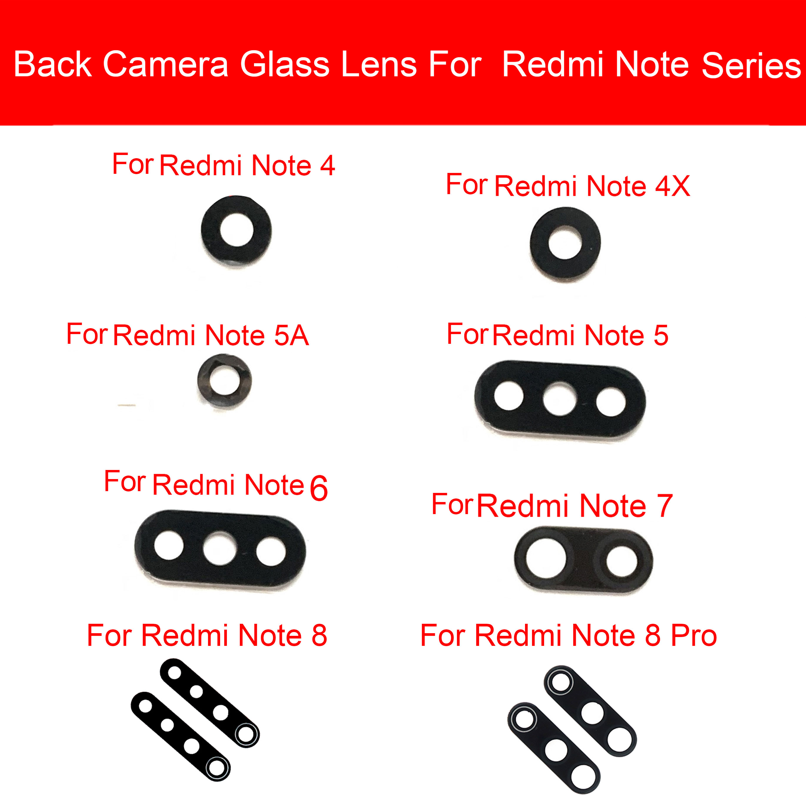Rear Camera Glass Lens Sticker Glue For Xiaomi Redmi Note 2 3 4 4X 5 5A 6 7 8 Pro Back Camera Glass Lens Cover Replacement Parts