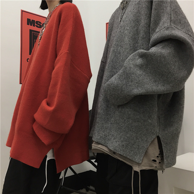 Winter Men's Lover' Clothes Round Neck Coats Oversize Knitting In Warm Knit Cashmere Pullover Casual Brand Grey Woolen Sweater