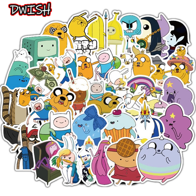 10/30/50pcs Cartoon Adventure Time Waterproof Girl Stickers Skateboard Suitcase Guitar Graffiti DIY Sticker Children Classic Toy