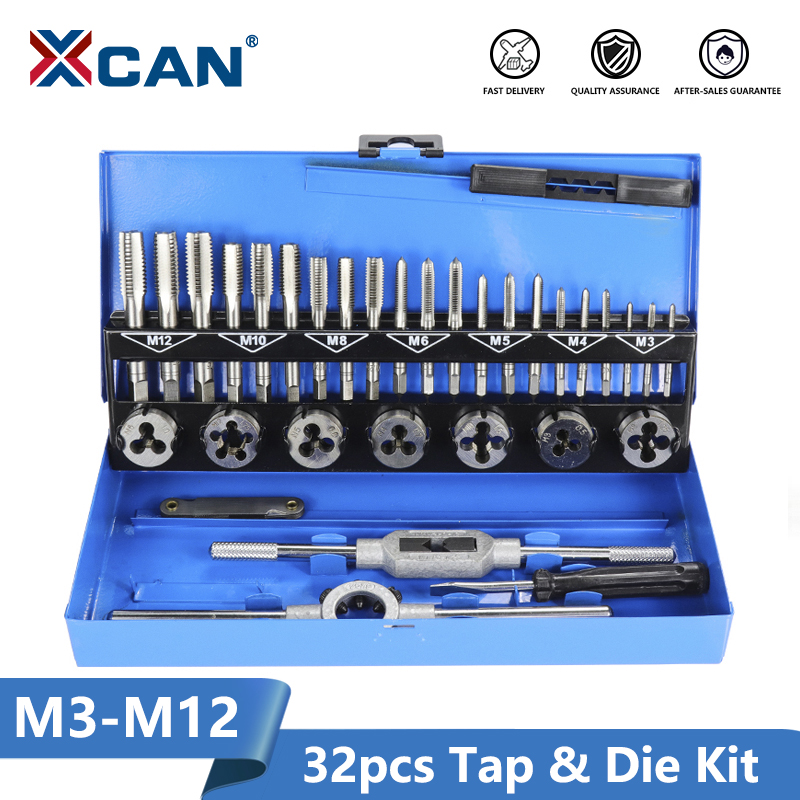 XCAN Tap Die Wrench-Set Hand-Tapping-Tools Screw-Thread Metric-Tap M3-M12 32pc