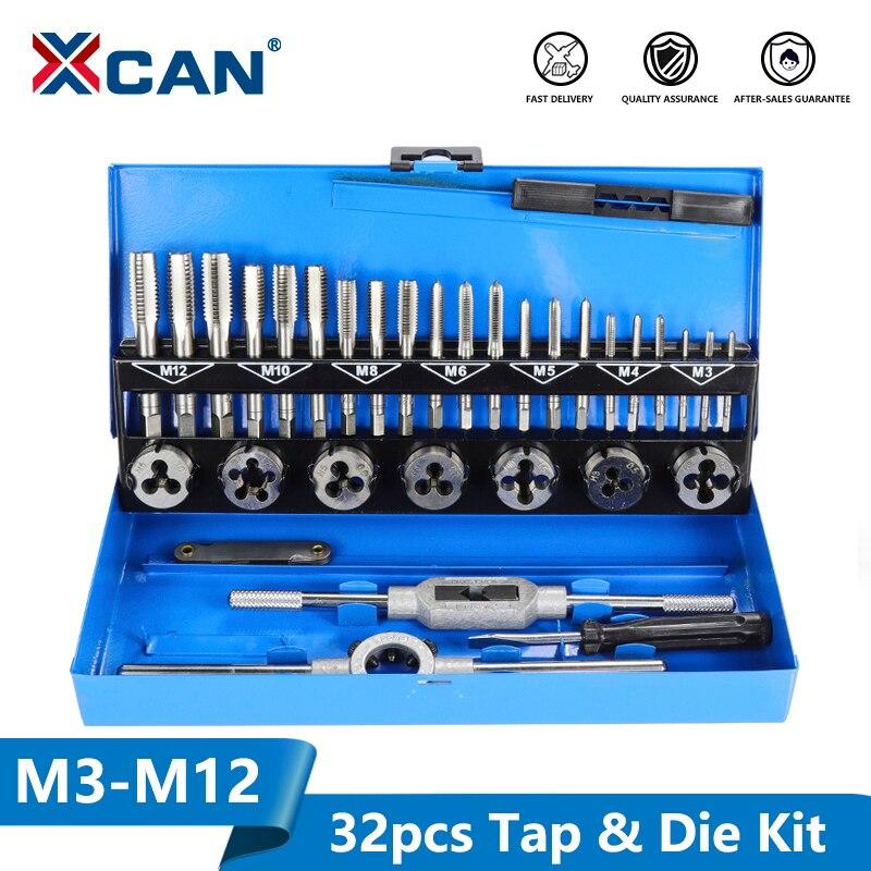 XCAN 32Pc M3-M12 เมตริกและชุดDie Hand Tappingเครื่องมือสกรูTap Dieชุดประแจ