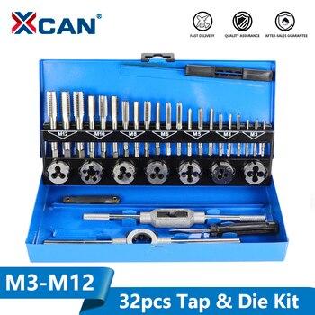 XCAN 32pc M3-M12 Grifo y Die set métrico mano herramientas de roscado tornillo grifo Die Wrench Set