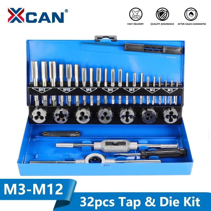 XCAN 32pc M3-M12 métrique robinet et jeu de matrices outils de taraudage à main filetage jeu de clés à molette