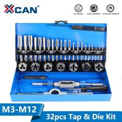 Xcan 32pc M3-M12 metric tap e morrer conjunto de ferramentas rosqueamento mão rosqueado torneira morrer chave conjunto