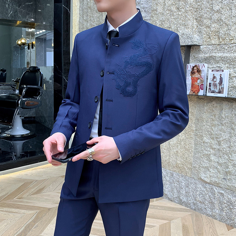 2020 Summer Wear Men Chinese-style Dragon Totem Embroidered Suit Stand Collar Single Breasted Suit Jacket 2 Pieces