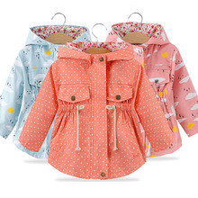 Spring Autumn Girls Casual Jackets hooded Outerwear Fashion Printing Candy Color
