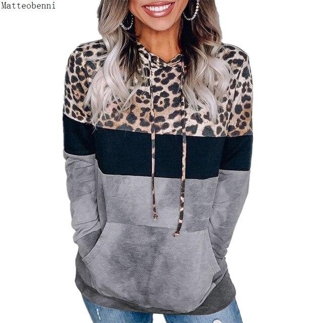 Leopard Print Hoodie Sweatshirts  Long Sleeve Oversize Pullover Loose Pocket  6