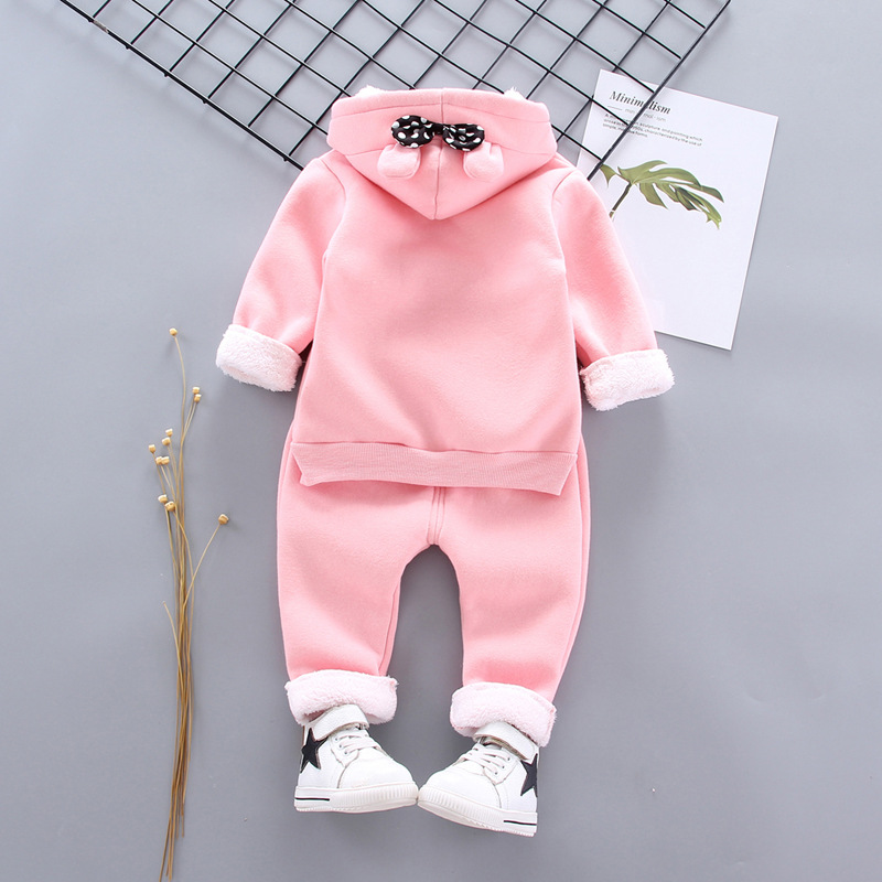 Thick Warm Girls Clothing Set Winter Plush Cotton Outfit For Baby Hoodies Jacket Pants Kids Casual Suit Toddler Boy Wearing 2