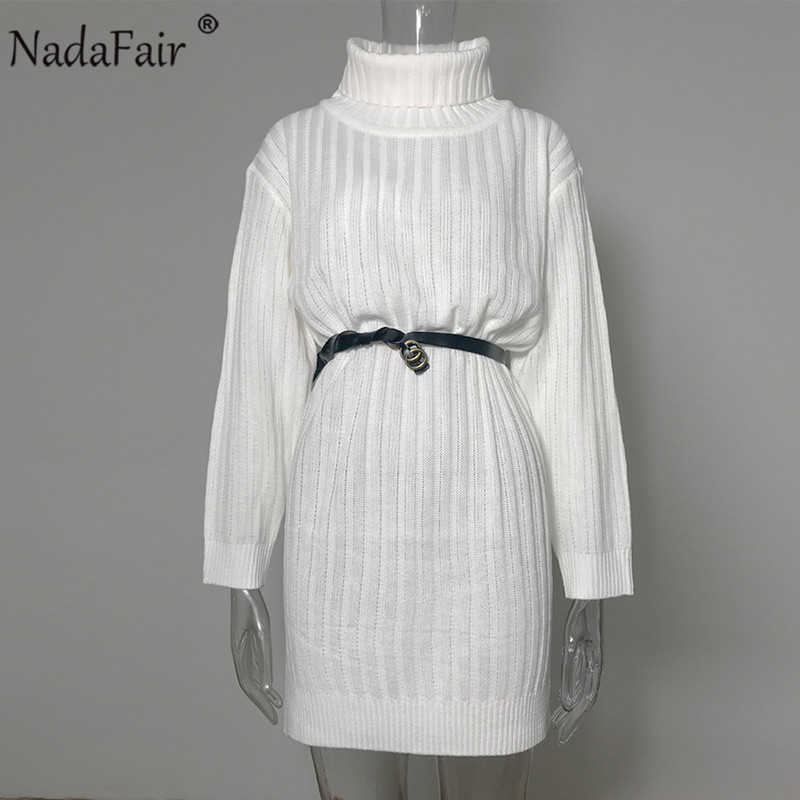 Image 5 - Nadafair Long Sleeve Turtleneck Sweater Dress Women 2019 Solid Mini Casual Loose White Autumn Knitted Winter Dress Jumper-in Dresses from Women's Clothing