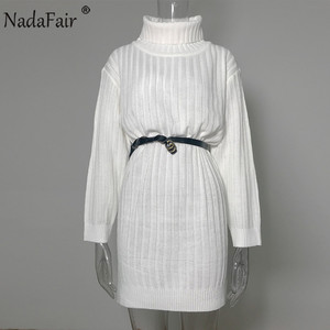 Image 5 - Nadafair White Sweater Dresses 2020 Christmas Solid Long Sleeve Mini Casual Loose Turtleneck Knitted Winter Dress Women Vestidos