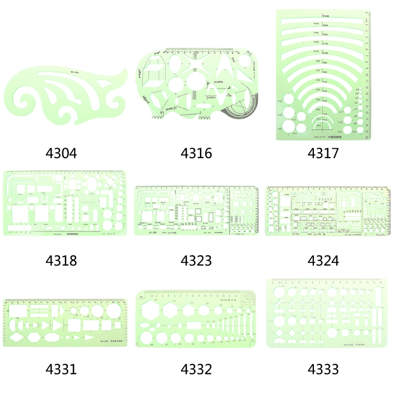 Green Geometric Template Ruler Drawing Tools For Student School Stationery Pro LX9A