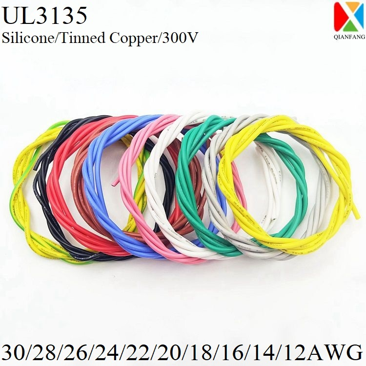2M/5M Silicone Rubber <font><b>Wire</b></font> 30 28 26 24 22 20 18 16 14 12 <font><b>AWG</b></font> Electron Copper <font><b>Wire</b></font> Insulated Soft LED Lamp Lighting Cable UL3135 image