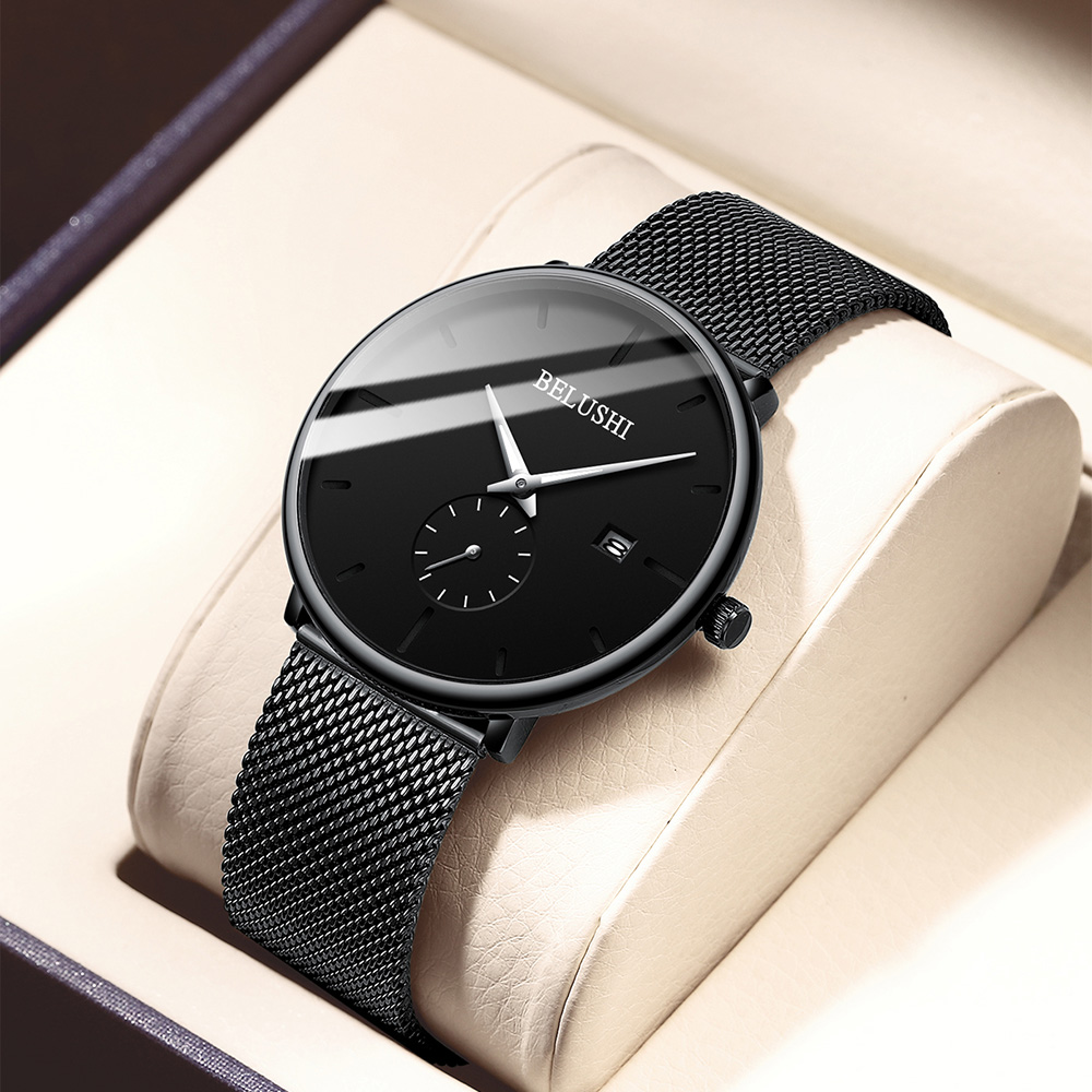 Man Watch 2019 Luxury Brand Stainless Steel Quartz Watch Men Waterproof Black Date Ultra Thin Watches For Men Relogio Masculino