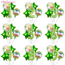 40 inch Green Number Foil Balloons Animal Ballon Jungle Safari Party Baby Shower Kids Birthday Party Decorations Helium Globos