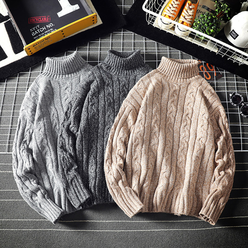 Winter Turtleneck Sweater Men's Warm Fashion Solid Color Casual Knit Pullover Man Wild Loose Long Sleeve Sweater Male Clothes