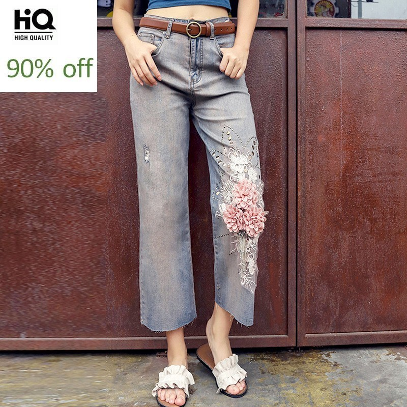 Womens Summer New Thin Vintage Ripped Appliques Loose Straight Jeans High Waist Ankle Length Fashion Casual Denim Wide Leg Pants
