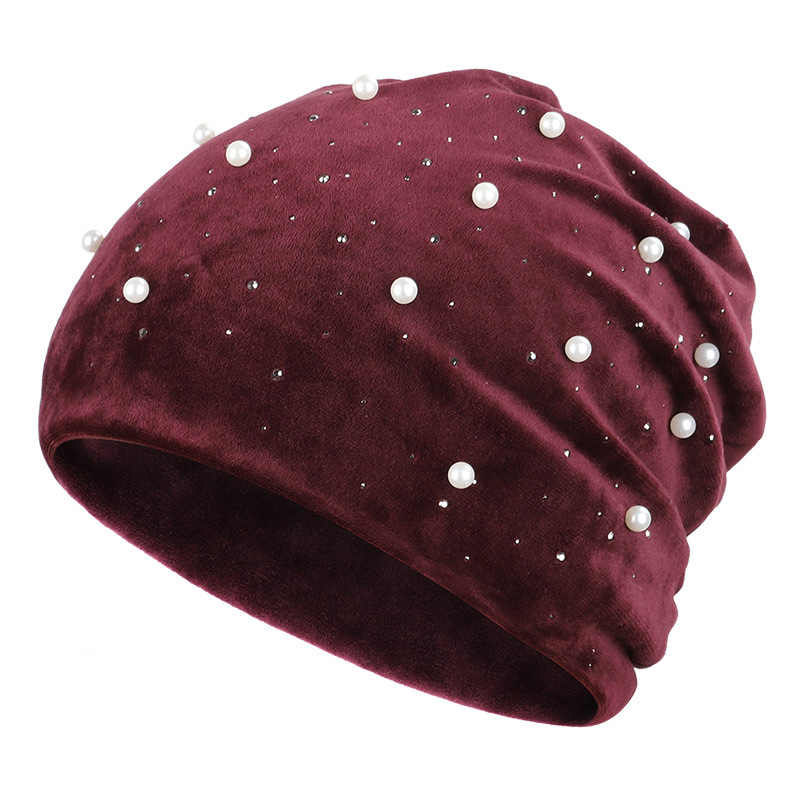 Winter Beanies Soft Warm Shiny Rhinestone Solid Color Women Skullies Beanies Pearl Women's Hat Velvet Fabric Soft Cap 2019