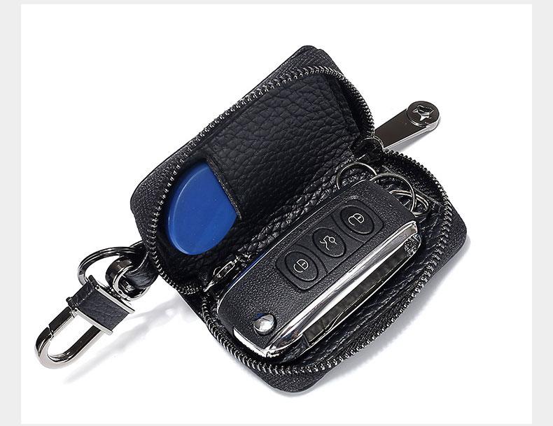 Key Holder for Car Keys Wallet Pouch Bag Genuine Leather Keychain Housekeeper Versatile Car Key Case Organizer Zipper Key Cover