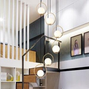 Стеклянный шар, подвесной светильник, лестница, длинный подвесной светильник, столовая, Подвесная лампа, светодиодный подвесной светильник...