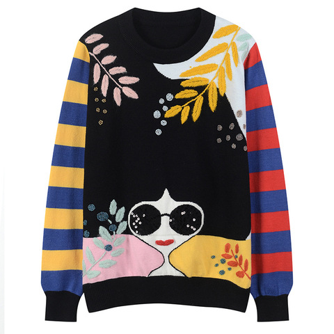 Winter New Contrast Striped Sleeve Embroidery Leaves Beaded Sequins Sunglasses Girls Knit Sweater C-331 Lahore
