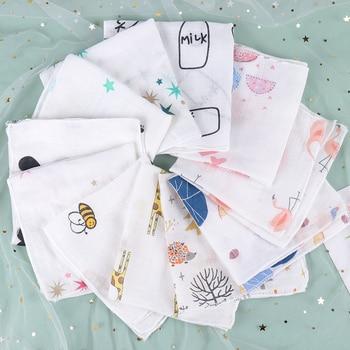 5PCS Handkerchiefs Double Cotton Bibs Cartoon Towels Print Saliva Towel Baby Boys Girls Triangle Saliva Towel