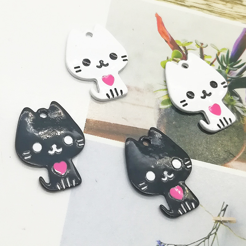 10pcs Cute Drop Oil Cats Alloy Charms Pendants Love Metal Enamel Floating Fit DIY Earring Jewelry Accessory FX494