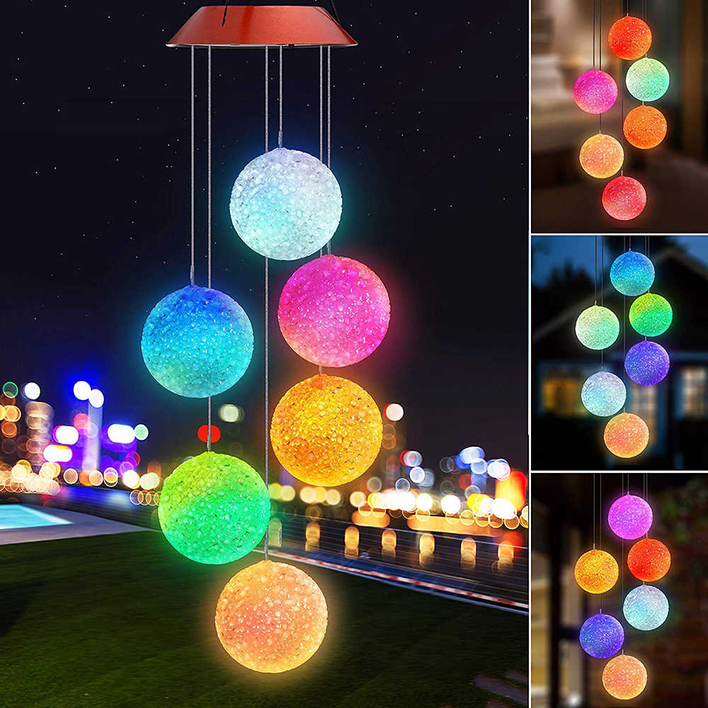 Solar Powered LED Lonceng Angin Portabel Warna Berubah Spiral Spinner Lonceng Angin Dekoratif Bel Angin Cahaya