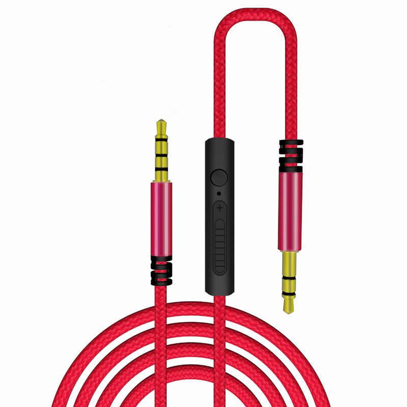 Cabo de áudio 3.5mm para jack 3.5mm, cabo macho para macho com microfone para controle de volume carro para iphone e samsung