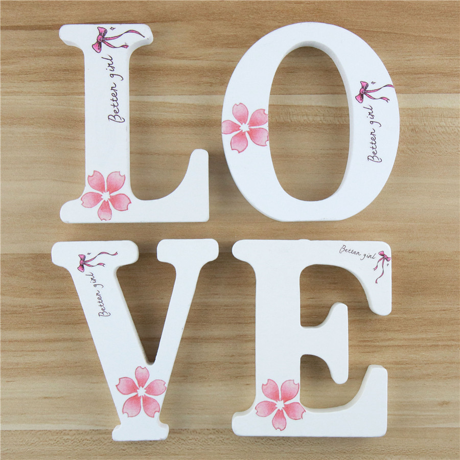 1pc 10cm Wooden Letters Alphabet Name Letter Standing Flower DIY Handmade Design Art Crafts Party Home Decor Height 3.94 Inches