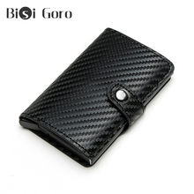 Bisi Goro New Arrivals RFID Carbon Fiber Button Bank Card Holder Anti-theft Metal Aluminum Wallet Men ID Card Case Dropshipping(China)