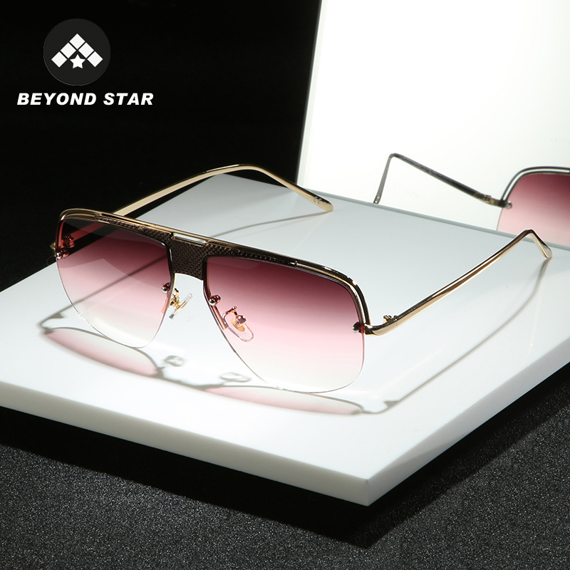 BEYONDSTAR Semi-Rimless Red Women Sun Glasses Premium Luxury Brand Designer 2019 Man Sunglasses Fashion Eyewear Okulary G25030