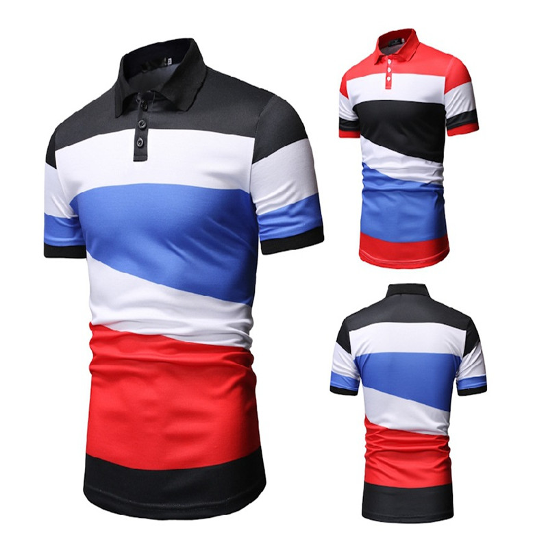 Men's Short Sleeve   Polo   Shirts Brand 2019 Summer Male Fashion Stitching striped Slim Sport Stand Collar   Polo   Shirt