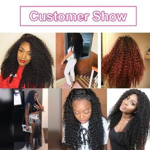 Image 5 - Mechones rizados Afro, extensiones de pelo ondulado brasileño, mechones de cabello humano postizo 4 o 3 mechones de cabello Natural negro msly Remy