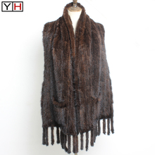 Shawl Scarfs Mink-Fur Knitted Autumn Winter New-Fashion 100%Natural Elegant Lady Real