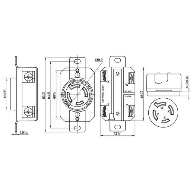 208v receptacle wiring diagram online shop black ul 20a 120v 208v nema l18 20p l18 20r us locked  ul 20a 120v 208v nema l18 20p l18 20r