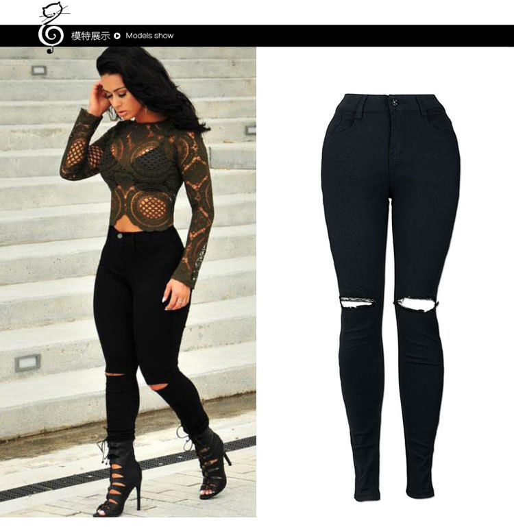 2018 Spring Europe And America New Style AliExpress Wish With Holes White Jeans Women's Skinny Pants