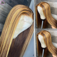 RULINDA Highlight 13X4 Lace Front Human Hair Wigs Pre plucked Straight Ombre Color Brazilian Remy Hair Lace Wigs For Women