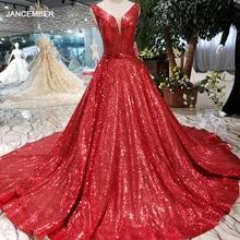 HTL185 赤反射ドレス a ラインシャイニーイブニングドレスセクシーな v ネック、 v バックウェディングパーティードレスキラキラローブデソワレ