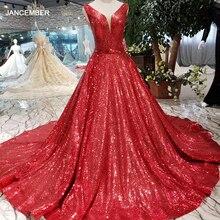 HTL185 vestido rojo reflectante línea de forma de A, vestidos de noche brillantes, sexy cuello en v, mangas en v, vestidos de fiesta de boda, vestido brillante de noche