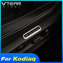 Vtear dla Skoda Kodiaq GT regulacja siedziska przycisk pamięci ramka przełączników Chrome dekoracyjne pokrycie wykończenia akcesoria wnętrze