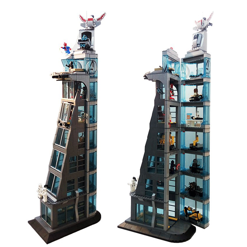 Compatible Legoinglys Marvel Avengers Tower Fit  Infinity Star Wars Figure Super Heroes Spider Ironman Building Block Bricks Toy